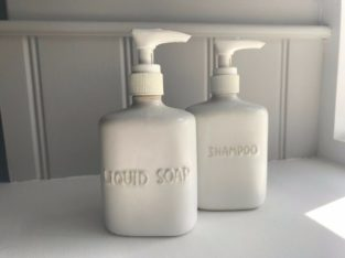Pair of White Ceramic Soap Dispensers, perfect in any bathroom