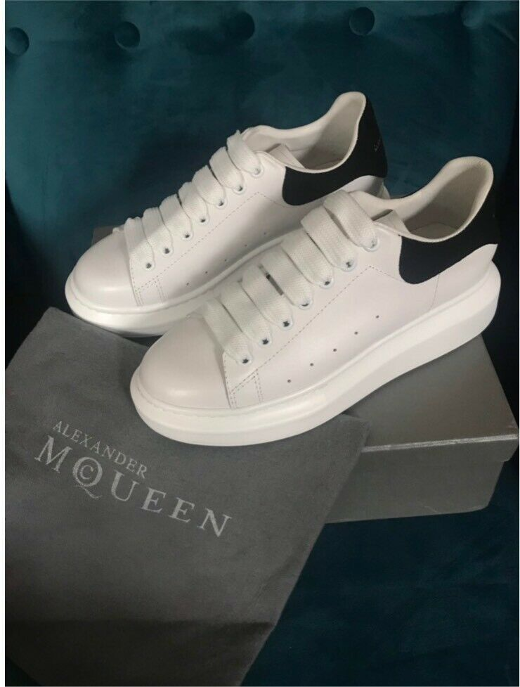 White and black Alexander McQueen trainers with box&dust bags