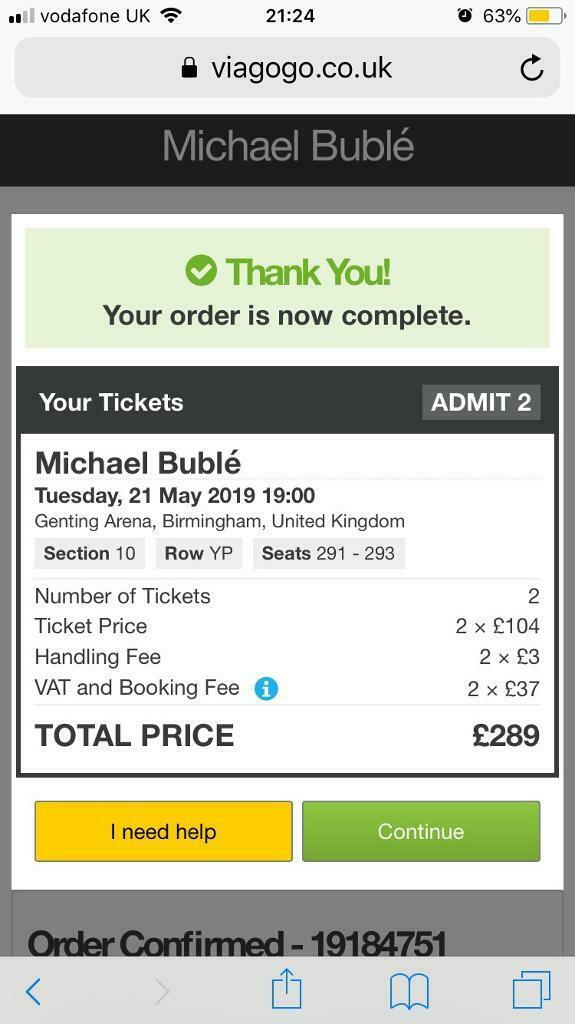 Michael Buble Concert Birmingham 21st May 2 Tickets at cost price