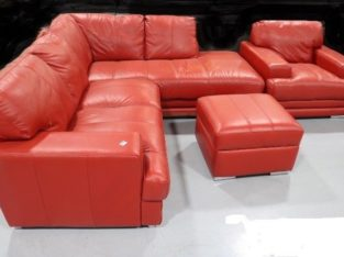 Red Leather 3 Piece Corner Suite