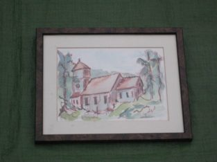 Painting Of St Giles Church Farnborough In Glazed Wooden Frame For £7.00