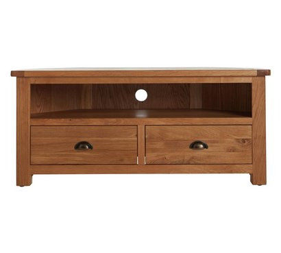 Heart Of House Kent 2 Drawer Oak & Oak Veneer Corner TV Unit