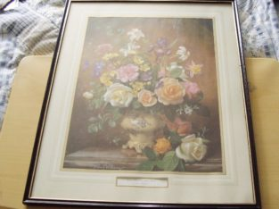 Large Flower Picture in Good Quality Wooden Frame. 21 inches by 17 inches in size.