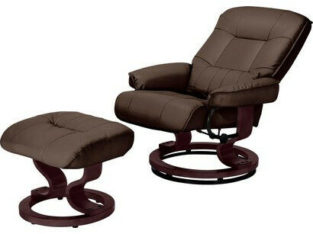 Santos Recliner Chair and Footstool – Dark Brown