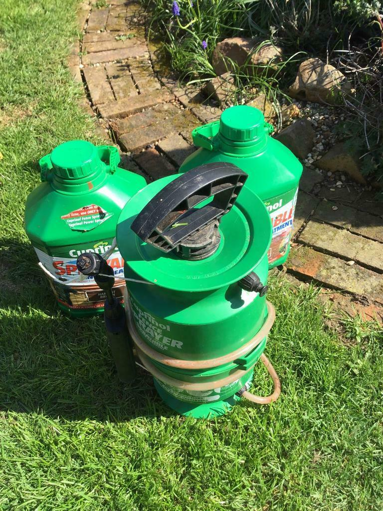 Cuprinol Sprayer and 2 cans of Harvest Brown shed paint for sale