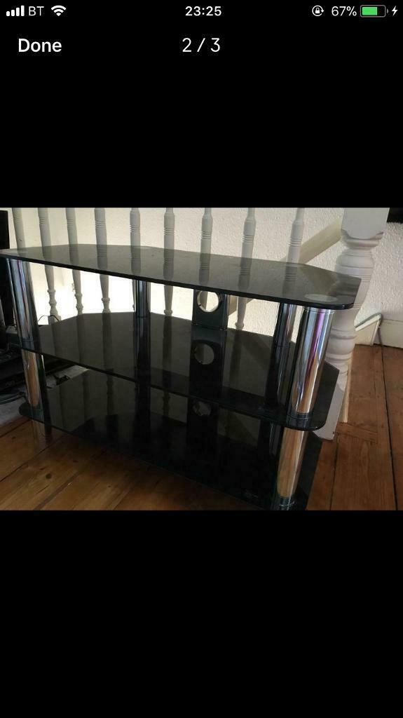 Black and crome TV stand