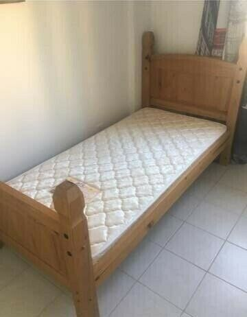 mexican pine single bed with mattress, CAN DELIVER