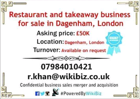 Restaurant and takeaway business for sale in Dagenham, London.